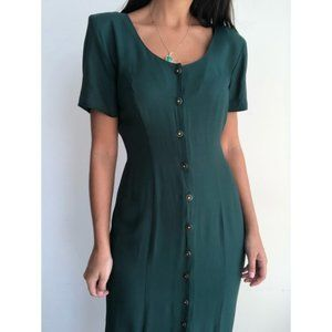 Vintage button front long emerald green dress